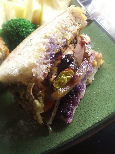 peanut butter,grilled onions,brussel sprout,tomato sammich1