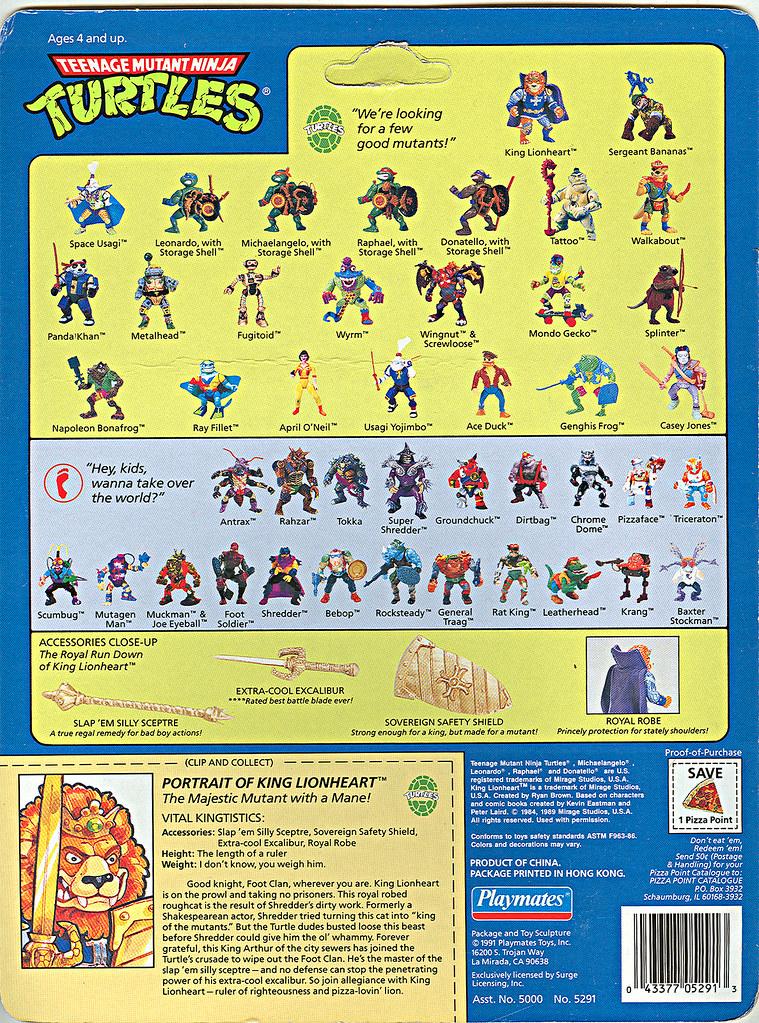 TEENAGE MUTANT NINJA TURTLES::  KING LIONHEART ..card backer iii (( 1991 - 1992 ))