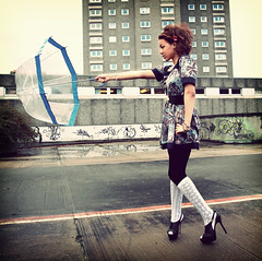 Spinderella (Szmytke) Tags: hot wet rain fashion topv111 socks canon concrete scotland movement model dress outdoor centre style curls aberdeen stephanie heels umberella brolly 1740l kneehigh denburn