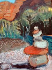 cairn along Oak Creek (EllenJo) Tags: digital painting artwork sedona 2009 cairn digitalimage newage oakcreek 4x6 sedonaart ellenjo editedwithpicnik jeromeartistscooperativegallery ellenjoroberts november2009