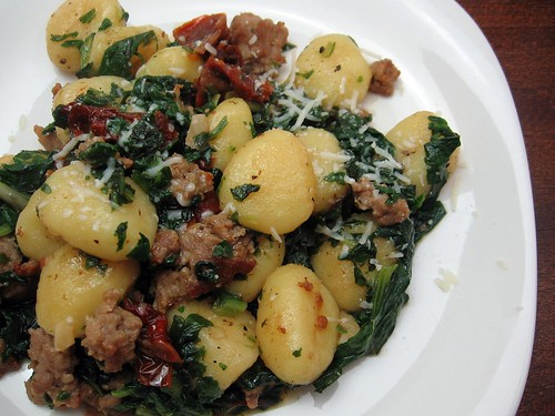 Gnocchi with Sausage, Chard and Sundried Tomatoes