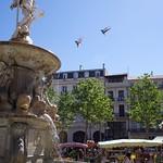 Carcassonne: Place Carnot, jour de marché. Fontaine du XVIIIe s. surmontée par une statue de Neptune. (ville basse)