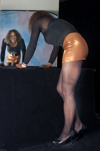 Reflection in Leotard, Miniskirt & Heels