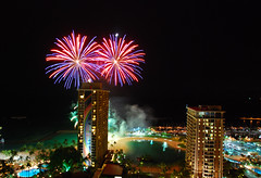 Fireworks 151/365 (dc.roake) Tags: beach night waikiki oahu fireworks honolulu hiltonhawaiianvillage rainbowtower 151365