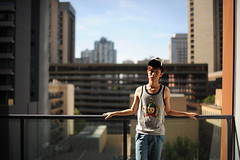 Still, Living by myself (SSNNYY) Tags: boy summer portrait selfportrait cute guy asian 50mm student nikon f14 balcony chinese young handsome sunny mature sp thin nikkor cantonese 18000s d700