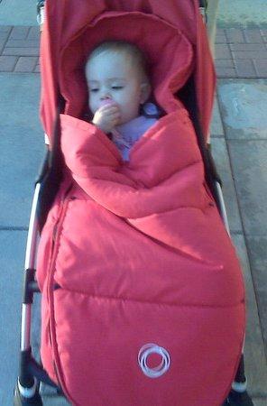 Snug in her stroller