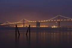 Purple Haze (kai_ross) Tags: longexposure bridge lights pier baybridge embarcadero sanfranciscobay suspensionbridge 30sec bogenmanfroto halogenarclights