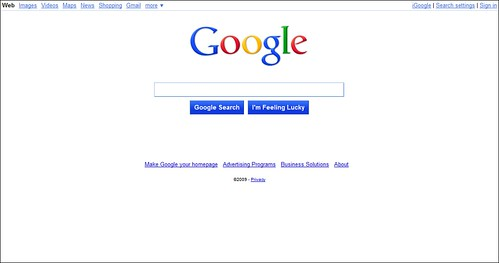 A screen shot of google home page
