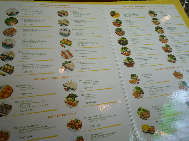 "Menu from ""Wrap and Roll"""