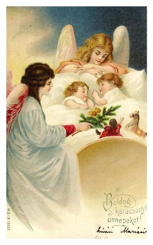 013-Tarjeta de Navidad Hungria 1902-Taringa
