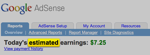 AdSense Estimated Earnings