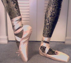 Snakeboi showing off new pointe shoes 2 (dahypafoo) Tags: pink ballet white black shoe ballerina shoes snake tiger tights pointe tutu leotard boi girlyboy zentai tigerboy snakeboy tigerboi snakeboi