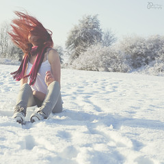 Among The Footprints - 13/52 (Explored) (Polly-Thomas) Tags: christmas trees winter selfportrait snow tree girl field scarf movement pastel footprints converse redhair chucks squarecrop 50mmf18 hairflick nikond90
