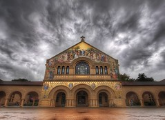 The Stanford Church in the Photowalk Storm (Stuck in Customs) Tags: california travel sky usa storm west color church window glass architecture angel clouds facade digital america campus photography hope design coast blog h