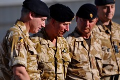 Brigadier Fay (left) the Prince of Wales and Colonel Angus Mathie at the memorial (Helmandblog) Tags: afghanistan wales army british taliban britisharmy kabul helmand theprinceofwales nadali shura campbastion hrhprincecharles rightflank afghannationalarmy rafchinook thescotsguards taskforcehelmand opherrick11 opmoshtarak optogether patrolbasepimmon brigadierjamescowan