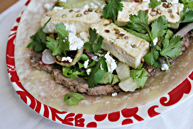 Coriander Chicken Tostadas With Refried Beans And Grilled ...