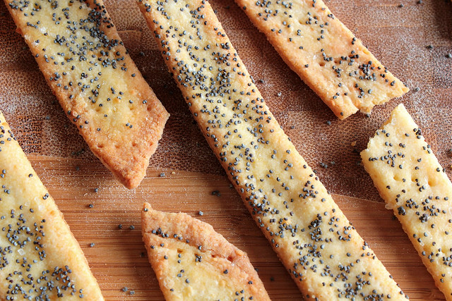 Cornmeal Parmesan and Poppy Seed Crackers