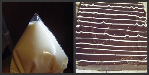Chocolate cake piping collage