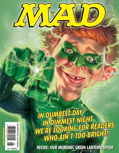 Mad Magazine Aug 2011 issue, Alfred E Newman as Green Lantern