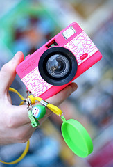 Fisheye Pimpin (victoria.anne) Tags: camera pink canada color green colorful winnipeg manitoba fisheye keychains mycameracollection sooocolorful