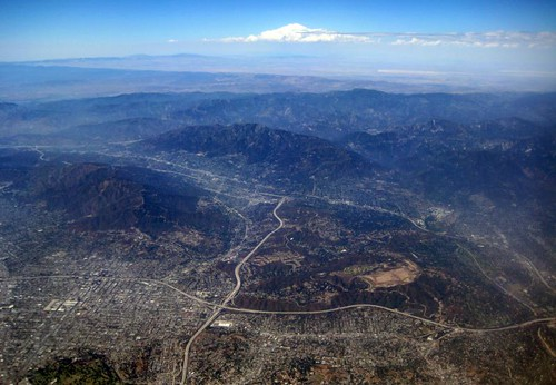 Aerial Los Angeles - the northern Los Angeles Basin, La Canada, the Verdugo Mountains, and the San Gabriel Mountains