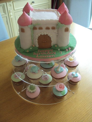 Princess castle cake and cupcakes july 2009