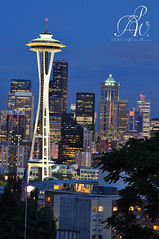 The Needle (Brian Stern Photography) Tags: seattle city sunset tower night space columbia needle glowing emerald wanderer watchful awatchfulwandererblogspotcom