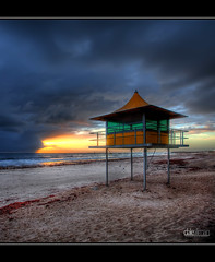Glenelg Surf Lifesaver Tower - HDR (Dale Allman) Tags: ocean sunset sky tower beach nature water clouds sand surf waves australia adelaide southaustralia glenelg hdr 1740 lifesaver 3xp photomatix auselite perfectescapes canon5dmkii