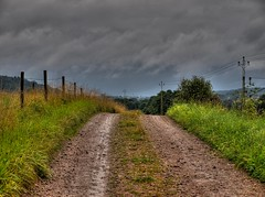 Gravel road (Peter Nyhln) Tags: clouds landscape hdr moln photomatix grusvg kyrktorn olympuse520 kinnahult harpebo peternyhln