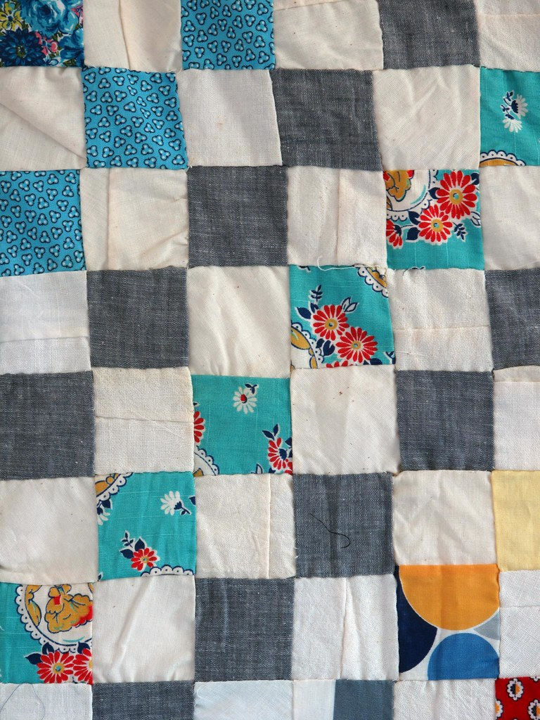 Deatil of Vintage Unfinished Quilt Top