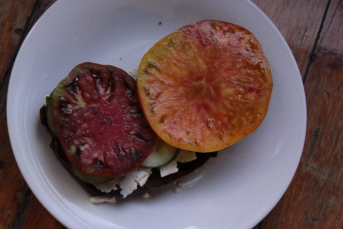 The Perfect Late Summer Sandwich Vinegar tomato sandwich Tomato Rye Bread Olive Oil Feta Cooking Recipes