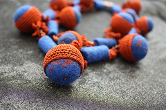 Ethnic crocheted necklace in blue and terracotta color with wool beads (Julia Kolbaskina) Tags: felted necklace knitting handmade terracotta crochet craft jewelry felt jewellery knitted ethnic