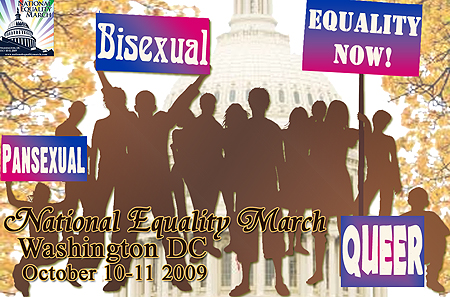 Bisexual, Fluid, Pansexual, & Queer-identified Contingent at the National Equality March October 10th - 11th 2009 Washington DC USA