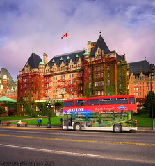 The Empress Hotel: Vertical Pano HDR (Brandon Godfrey) Tags: pictures street autumn red canada building bus green fall colors st vertical photo amazing fantastic downtown colours bc shot photos shots harbour pics britishcolumbia pano sony picture images victoria tourist panoramic canadian double inner vancouverisland creativecommons pacificnorthwest northamerica government alpha dslr 2009 stitched hdr highdynamicrange attraction outstanding selectivecolor decker selectivecolour a300 crd capitalregion greyline photomatix theempresshotel tonemapped tonemapping dslra300 sonya300 photoshopelements7 pse7 brandongodfrey