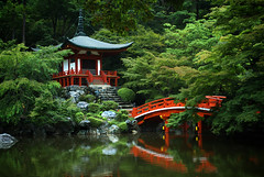Serene Scenery (pjan vandaele) Tags: bridge reflection building water japan gardens architecture forest landscape temple japanese pond scenery kyoto asia environment kansai landscapephotography bentendo supershot religiousbuilding