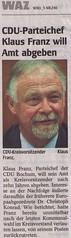 WAZ Bochum: CDU-Parteichef Klaus Franz will Amt abgeben