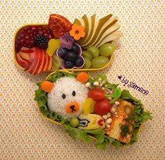 onigiri bear bento (gamene) Tags: chocolate tomatoes tofu plum pomegranate onigiri pear bento sweetpotato tamagoyaki blackberries blueberries enoki takuwan