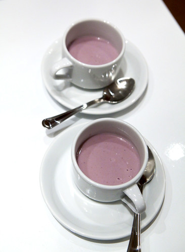 White Hot Chocolate with Red Berries and Hibiscus Flowers