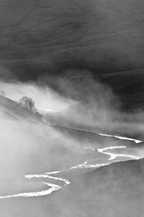 Morning mist. (Ian McWilliams.) Tags: morning trees blackandwhite cloud mist fog river early hills northumberland reflect valley