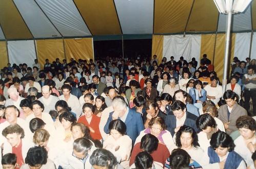Crowds inside tent