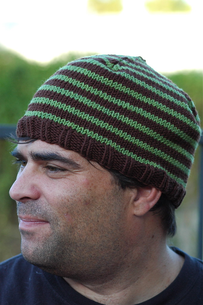striped hat side view