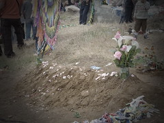 Another grave, much simpler with simple flowers.