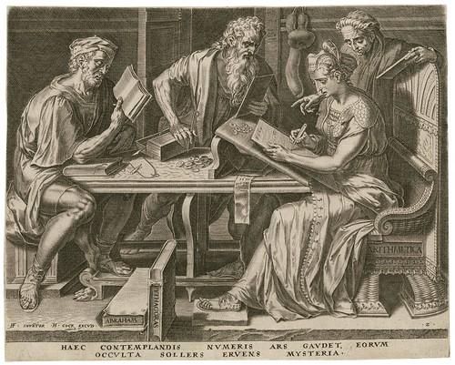 Arithmetica -- Haec contemplandis numeris - Cornelis Cort 1565 (Cock, Floris) (Folger)