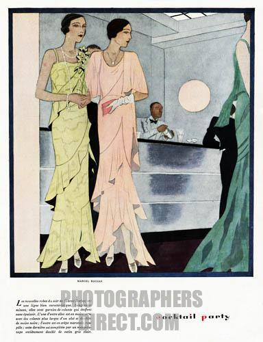 FAWC1037, Cocktail Party, 1930 French fashion magazine illustration