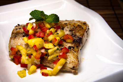 Pan fried mahi mahi with tequila salsa