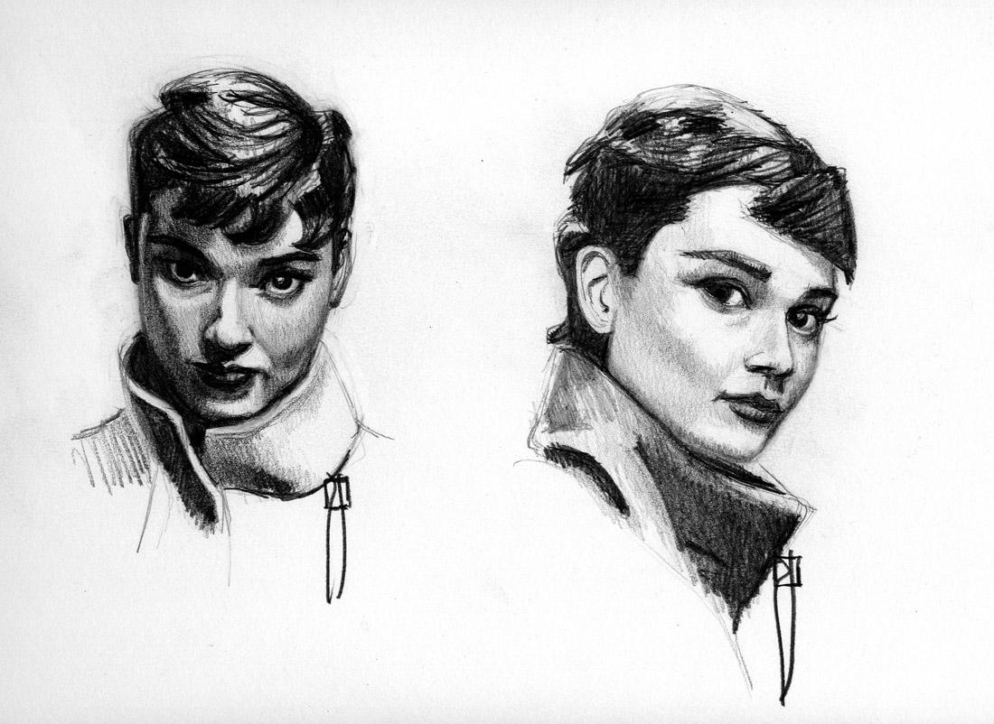 audrey hepburn sketches
