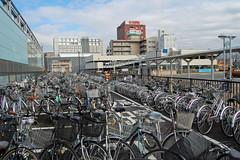 Bikes at Nagano Station - Nagano, Japan (JohannSchmidt) Tags: tower castle japan jo matsumoto nagano naganoprefecture  matsumotojo matsumotocastle hirajiro