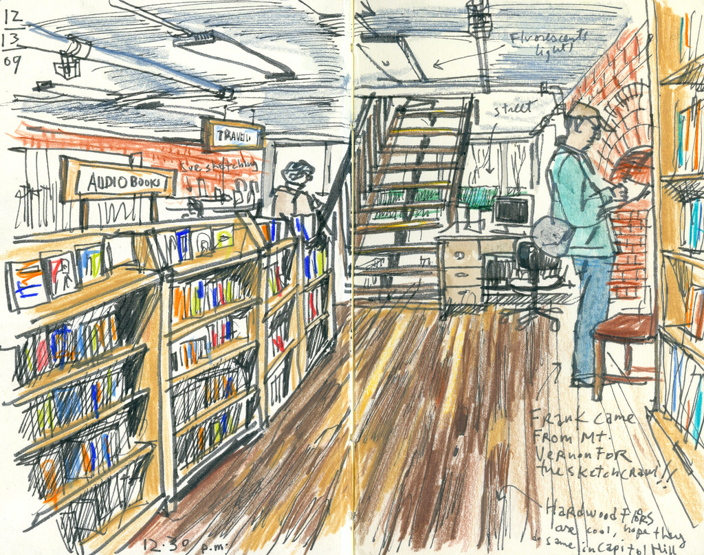 Urban Sketchers Seattle Elliott Bay Bookstore Sketchcrawl