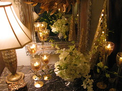 WHITE HYDRANGEAS AND ORCHIDS WITH GOLD LENAE DENSON (LenaeDenson.com) Tags: christmas tree gold mirror orchids cone chocolate hydrangeas freshfruit redandgreen flocked