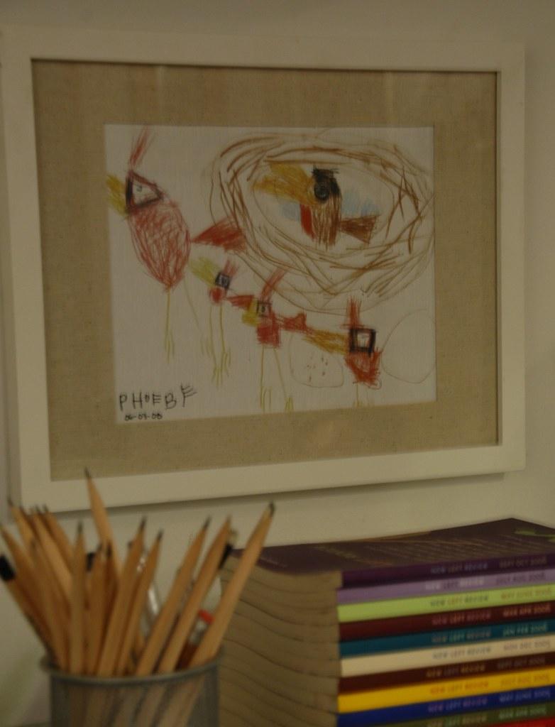 kid's artwork in frame